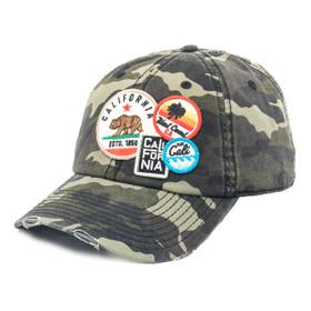 American Needle - Cali Bear Distressed Patch Cap in Camo -