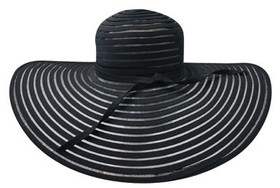Jeanne Simmons - Large Brim Horsehair Fancy Hat Black
