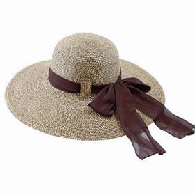 California Hat Company - Big Brim Floppy Hat with Scarf  Brown/Black
