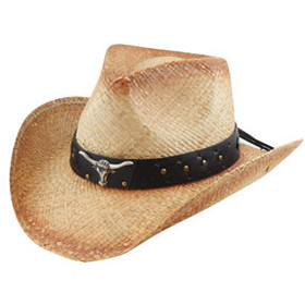 California Hat Company - Raffia Western Hat With Long Horn Conch
