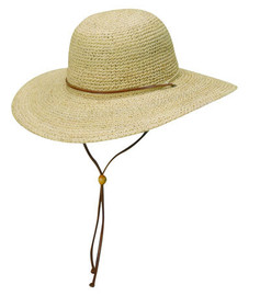 Scala - Crocheted Raffia Hat with Leather Chin Cord