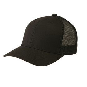 Flexfit - Black Retro Snapback Trucker Cap