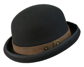 Conner - Steampunk Bowler with Leather Band Black