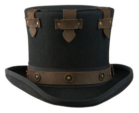 "Conner - Black Steampunk ""Boss"" Top Hat (Front)"