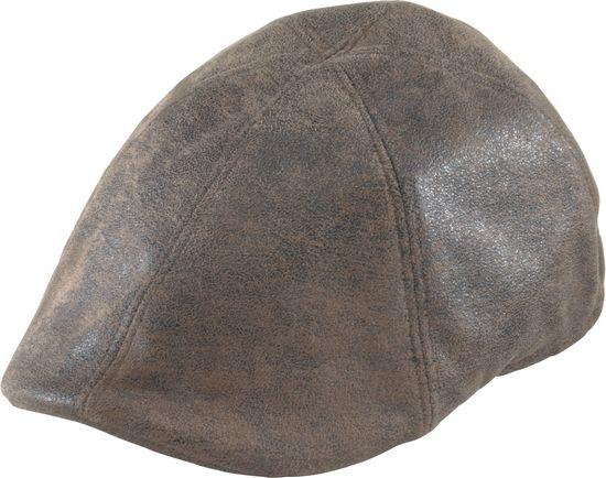 Henschel - Brown Distress Faux Leather Duckbill Cap