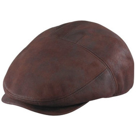 Henschel - Brown Faux Leather New Shape Ivy Cap in Brown