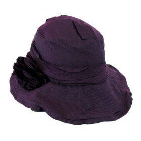 "Jeanne Simmons - Purple Slanted 4.5"" Brim Hat -"