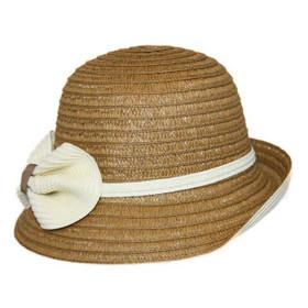 Jeanne Simmons - Tan/Cream Paper Braid Cloche Hat