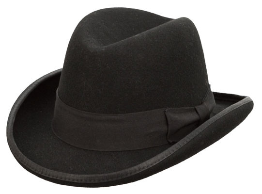 Kenny K - Black Wool Felt Homburg Hat
