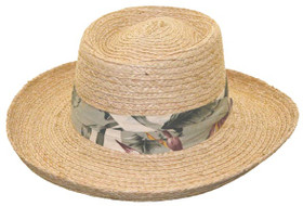 Kenny K - Raffia Gambler Hat with Tropical Band