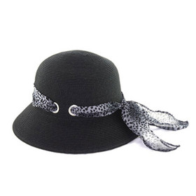 California Hat Company - Black Bell Hat with Leopard Trim
