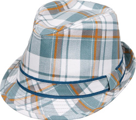 Kenny K - Aqua Plaid Fedora Hat