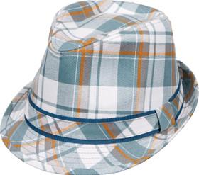 Kenny K - Aqua Plaid Fedora Hat