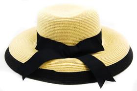Karen Keith - Wheat Black Toyo Braided Cloche Hat