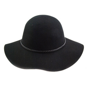 "Jeanne Simmons - Black Felt 3"" Brim Hat"
