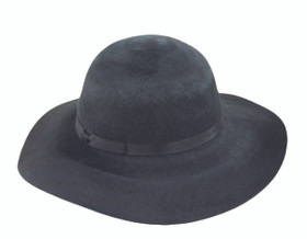 "Jeanne Simmons - Black Brushed Felt 3.75"" Brim Hat"