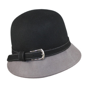 Jeanne Simmons - 2 Tone Cloche Hat - Black and Grey