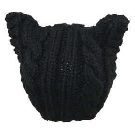 Jeanne Simmons - Black Knit Acrylic Cap with Ears