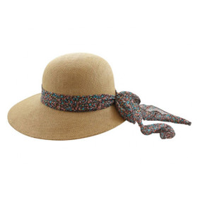 California Hat Company - Beige Ladies Straw Hat with Flower Ribbon
