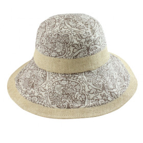 California Hat Company - White Canvas Bucket Hat with Flower Print