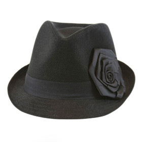 Something Special - Black Linen Fedora Hat with Ribbon Flower