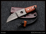 Anso - Sheepsfoot Damasteel and Burl Necker