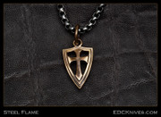 Steel Flame - Crusader Cross Shield Pendant