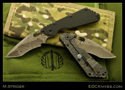 Mick Strider Custom - NM Brown Damascus SMF with Black G-10