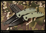 "Hinderer - XM-18 - 3.5"" Flipper, DLC, Pale Green G10 Scale."