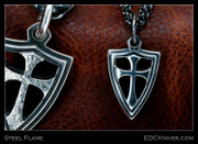 Steel Flame - Mini-Crusader Cross Shield Pendant