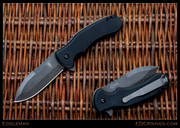 Eddleman Knives - Flipper Folder, Black G10, Acid Wash