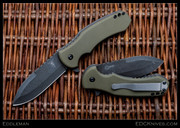 Eddleman Knives - Flipper Folder, OD Green G10, Acid Wash