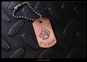 Steel Flame - Dog Paw Copper Tag, Personalized