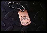 Steel Flame - X Bones Copper Tag, Personalized