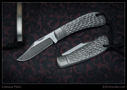 Pena, Lanny's Clip, Stainless Damascus, Jigged Titanium