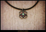 Steel Flame - Clover Heart Pendant w/Synthetic Stones