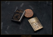 Steel Flame - Zippo - Etched Crusader Flag