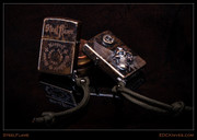 Steel Flame - Custom Armored Zippo - Darkness with Wings