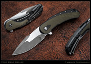 Begg - Bodega, Carbon Fiber with OD Green Inlays, Compound Grind