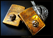Steel Flame - Custom Armored Zippo - Warrior with Maltese