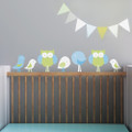 Trendy Peas Fabric Wall Decal - Birds & Owls
