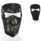 Reversible Neoprene Facemask - Black and Woodland Camo