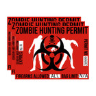 Zombie Hunting Permit - Biohazard Decal Sticker - Set of 3
