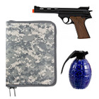 Spring Loaded Luger Style Airsoft Pistol Combo