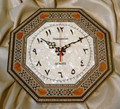 Handcraft Colored Wood Mosaic Octagonal Shape Clock with Arabic Numbers