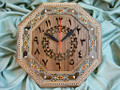 NEW Unusual Octagonal Shape Handmade Wooden Mosaic Wall Clock