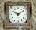 Square Shape Handmade Art Mosaic Wall Clock with Arabic Numbers Gift Idea