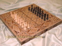 wooden mosaic backgammon board