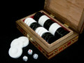 Elegant Backgammon bone Pieces with mosaic Box Holder
