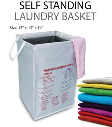 Self Standing Laundry Basket Printed Washing Instructions